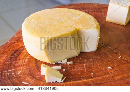 São Roque De Minas - Mg, Brazil - December 12, 2020: Tasting Of The Cheese Made At Canastra Region A