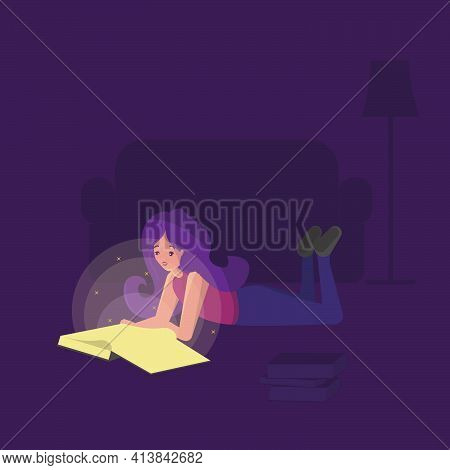 Girl Reading Book Laying. Vector Isolated Illustration. Happy Childhood Design. Lifestyle Education