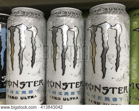 Indianapolis - Circa March 2021: Monster Beverage Display. Monster Beverage Corporation Manufactures