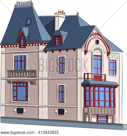 A Traditional British House With A Veranda In Saint-malo.