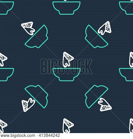 Line Nachos In Plate Icon Isolated Seamless Pattern On Black Background. Tortilla Chips Or Nachos To
