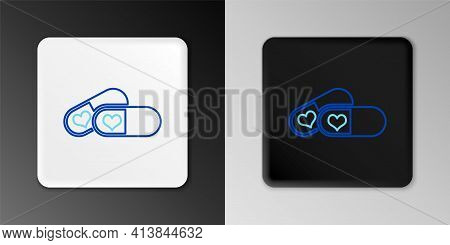 Line Pills For Potency, Aphrodisiac Icon Isolated On Grey Background. Sex Pills For Men And Women. C