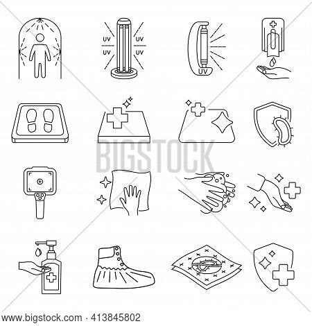 Disinfection Line Icons. Cleaning And Sanitizer Surface, Wash Hand Gel, Uv Lamp, Sanitizing Mat, The