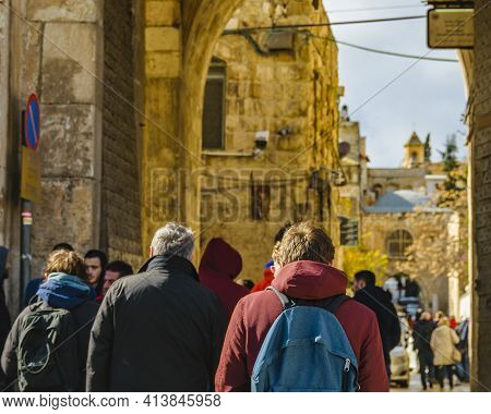 Crowded Old Jerusalem Street