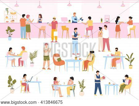 Characters In Food Court. People Eating Meal In Cafe Buffet, Men And Women Have Lunch Together. Eati