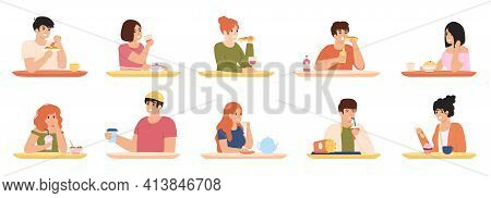 Eating Characters. Men And Women Eating Delicious Food, Characters Having Lunch. People Eating Delic