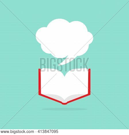 Open Book With Red Book Cover And White Speech Bubble Flying Out. Isolated On Powder Blue Background