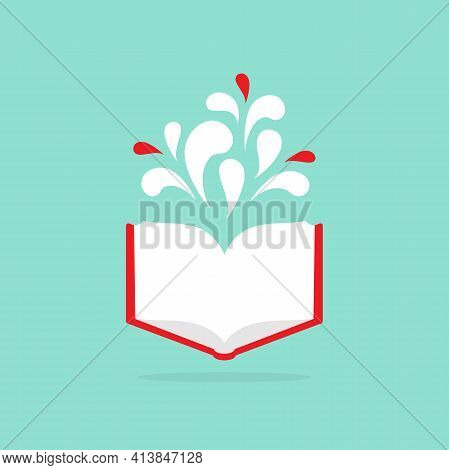 Open Book With Red Book Cover And Paint Drops Flying Out. Isolated On Powder Blue Background. Flat I