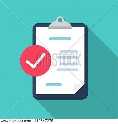 Clipboard With Check Review Document In A Flat Design With Long Shadow