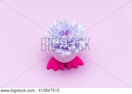Single Of Purple Flower In Egg With Chick Feet Container. Beautiful Blooming Bud In Holder On Pink B