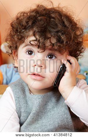 Baby Girl Talking On Phone