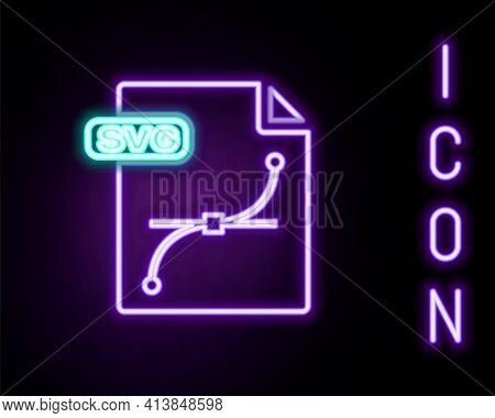 Glowing Neon Line Svg File Document. Download Svg Button Icon Isolated On Black Background. Svg File