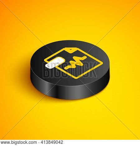 Isometric Line Mp3 File Document. Download Mp3 Button Icon Isolated On Yellow Background. Mp3 Music