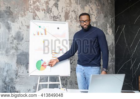 Smart And Contemporary African-american Male Employee Holding Online Video Conference, A Confident B