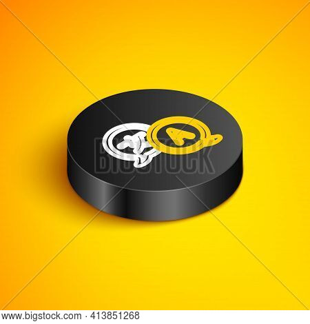 Isometric Line Translator Icon Isolated On Yellow Background. Foreign Language Conversation Icons In