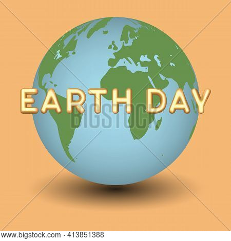 Earth Day Vector Illustration. Saving Planet. Landing Page Template On Colored Background.