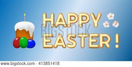 Christ Is Risen. Happy Easter Festive Vector Illustration. Easter Poster Template For Website Advert