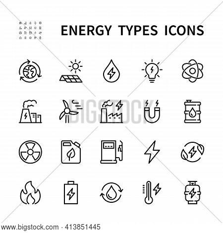Types Of Energy Vector Line Icons. Isolated Icon Collection For Web Sites On White Background. Energ