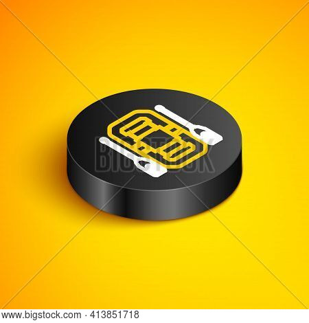 Isometric Line Rafting Boat Icon Isolated On Yellow Background. Inflatable Boat With Oars. Water Spo