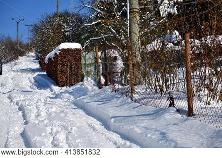 Winter Snow Idyll With Lots Of Snow In The Garden Area To Relax