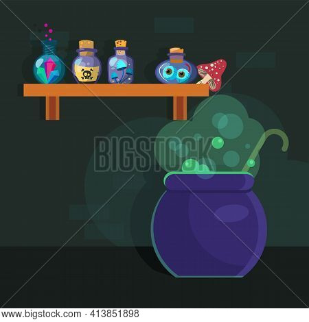 Metal Cauldron Boiling With Magical Potion. Glass, Ingredient, Magic Flat Vector Illustration. Witch