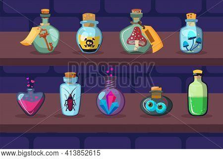 Glass Bottles With Magic Ingredients On Shelves. Poison, Mushroom, Potion Flat Vector Illustration.