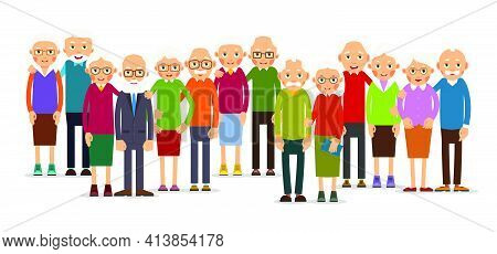 Group Older People In Pairs. Seniors People Stand In A Row. Elderly Man And Woman Stand Together And
