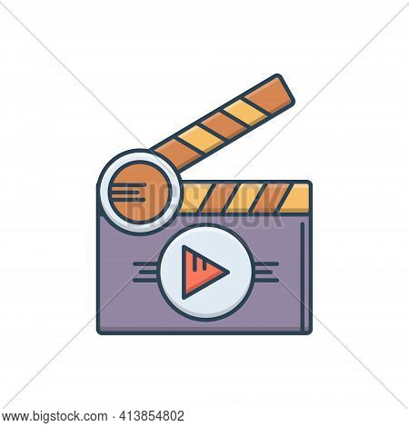 Color Illustration Icon For Short Films Theater Clapperboard Premiere Cinematography