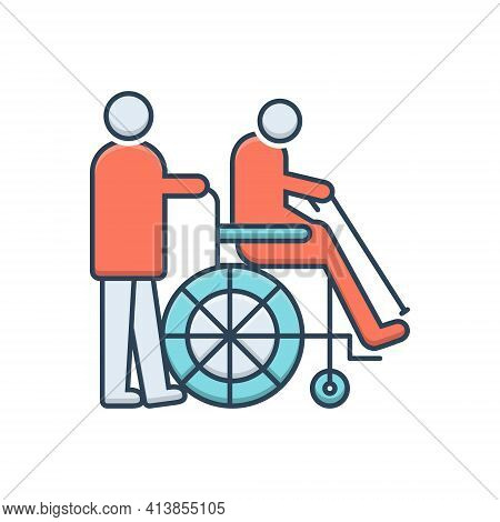Color Illustration Icon For Geriatrics Therapy Wheelchair Handicapped Physiotherapist