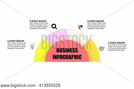 Semicircle Infographic Template With 4 Options. Can Be Used For Workflow Layout, Diagram, Web Design