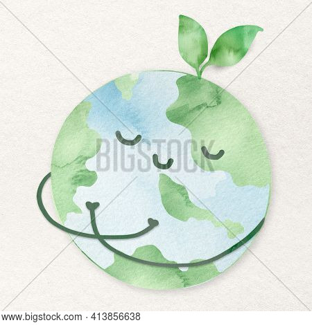 Peaceful world design element with green environment