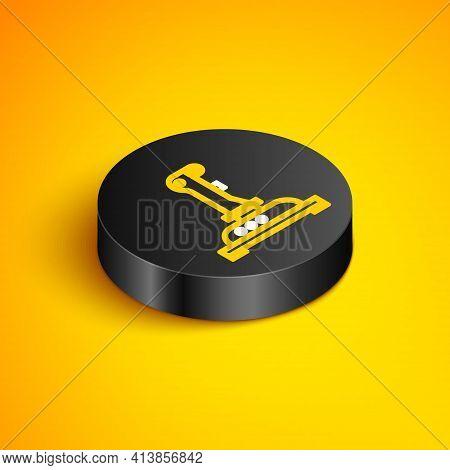 Isometric Line Joystick For Arcade Machine Icon Isolated On Yellow Background. Joystick Gamepad. Bla