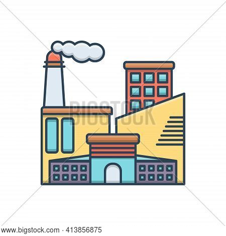 Color Illustration Icon For Industrial Manufacturing   Factory  Technology Manufacture