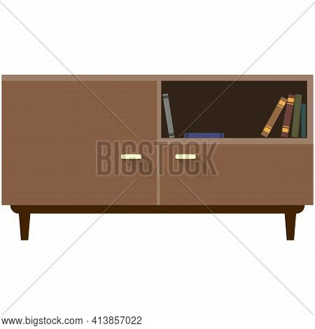 Bookcase Vector Room Interior Isolated On White