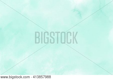 Mint Green Gradient Watercolor Vector Background. Hand Drawn Aquarelle Texture. Light Green Backgrou
