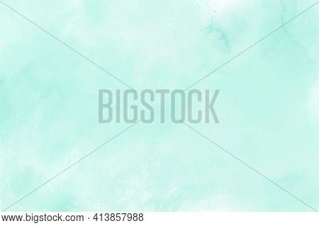 Mint Green Gradient Watercolor Vector Background. Hand Drawn Aquarelle Texture. Light Green Backgrou