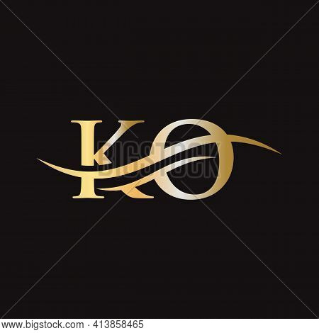 Initial Ko Letter Linked Logo Vector Template. Swoosh Letter Ko Logo Design. Ko Logo Design Vector