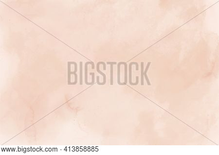 Watercolor Peach Beige Background For Paper Design. Soft Pastel Wallpaper. Illustration As Template
