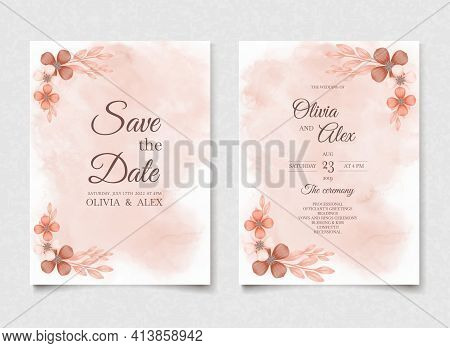Orange Watercolor Wedding Invitation Flowers Card, Minimal Template Vector. Botanical Save The Date