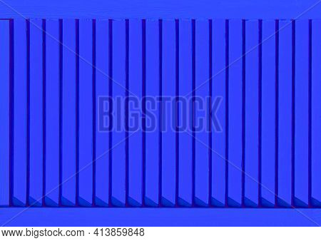 Part Of Modern Interior With Blue Horizontal Patterned Texture Of Wooden Shutters, Casements Or Blin