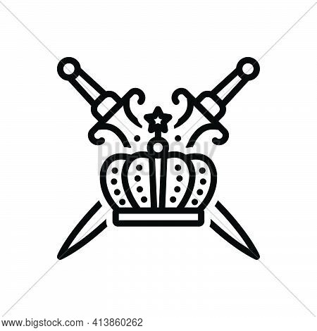 Black Line Icon For Royalty Sword Authority Kingship Crown Emperor Imperial Kingdom Dynasty