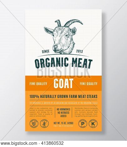 Organic Meat Abstract Vector Packaging Design Or Label Template. Farm Grown Steaks Banner. Modern Ty