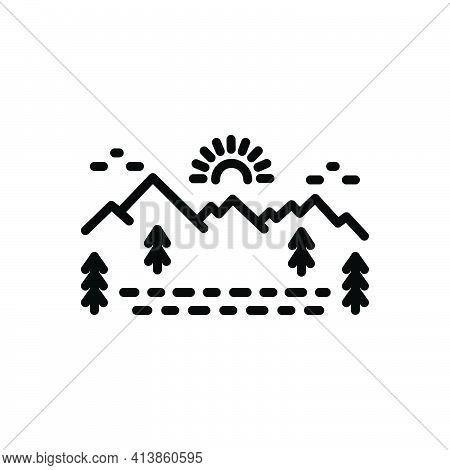 Black Line Icon For Sierra Ghaut Valley Cliff Mountain Skyline