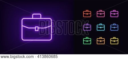 Neon Briefcase Icon. Glowing Neon Briefcase Sign, Outline Suitcase In Vivid Colors. Business Case, W
