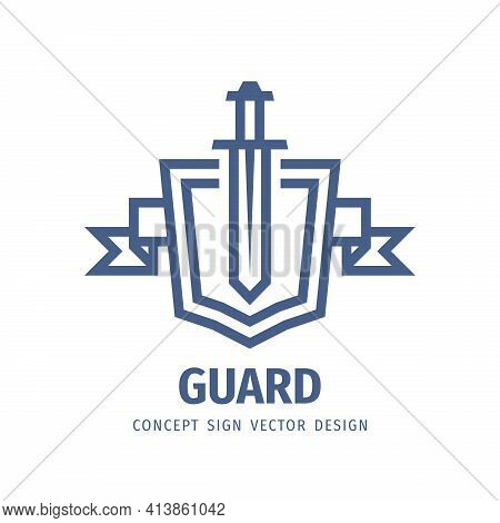 Shield And Sword - Vector Logo Template Design. Guard Shield Business Concept Icon Emblem Badge. Pro