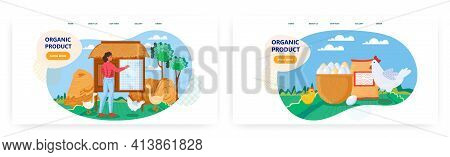 Organic Product Landing Page Design, Website Banner Vector Template Set. Female Farmer Working On Po