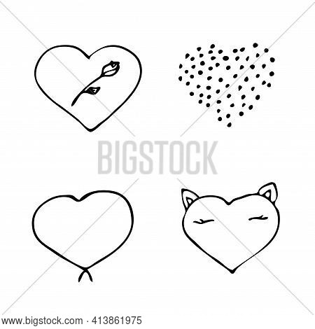 Set Of Handdrawn Heart. Handdrawn Rough Hearts Isolated On White Background. Vector Illustration For