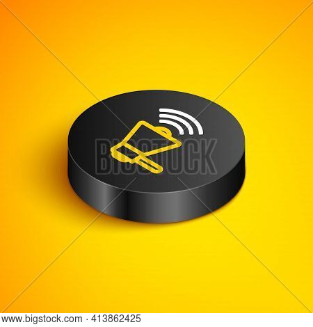 Isometric Line Megaphone Icon Isolated On Yellow Background. Loud Speach Alert Concept. Bullhorn For