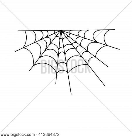 Spider Web Simple Vector Outline Illustration Of Simple Fancy Halloween, Isolated Objects On White B