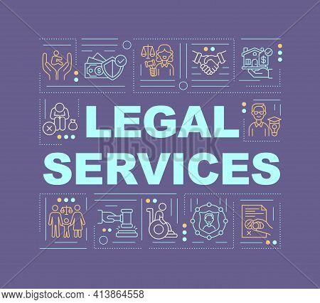 Legal Services Word Concepts Banner. Legislation And Court Judgement. Infographics With Linear Icons